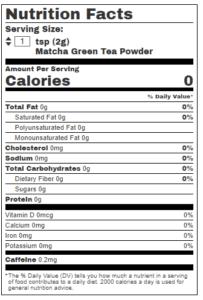 Matcha Tea Nutrition Serving Chart