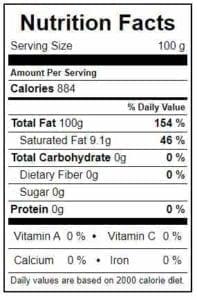 Walnut Oil Nutrition Chart